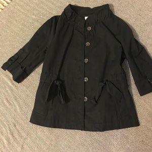 Navy waist length, cinched, 3/4 sleeve jacket.